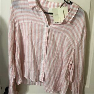 100% Linen pink and white button down top NWT